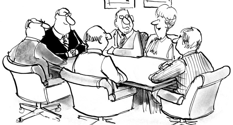 cartoons, executives, change, uncertaintly